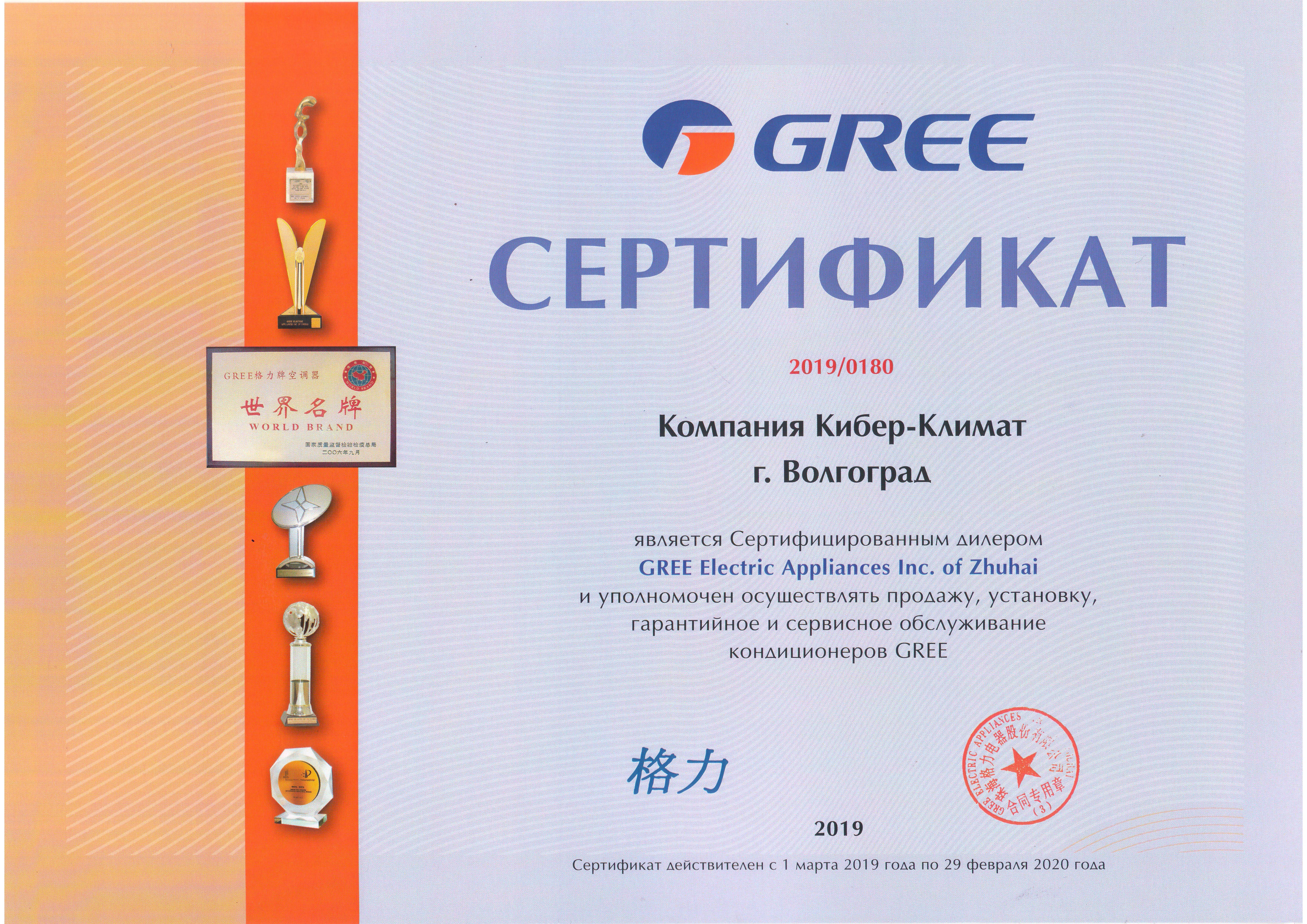 Сертификат Gree Кибер-Климат 2019